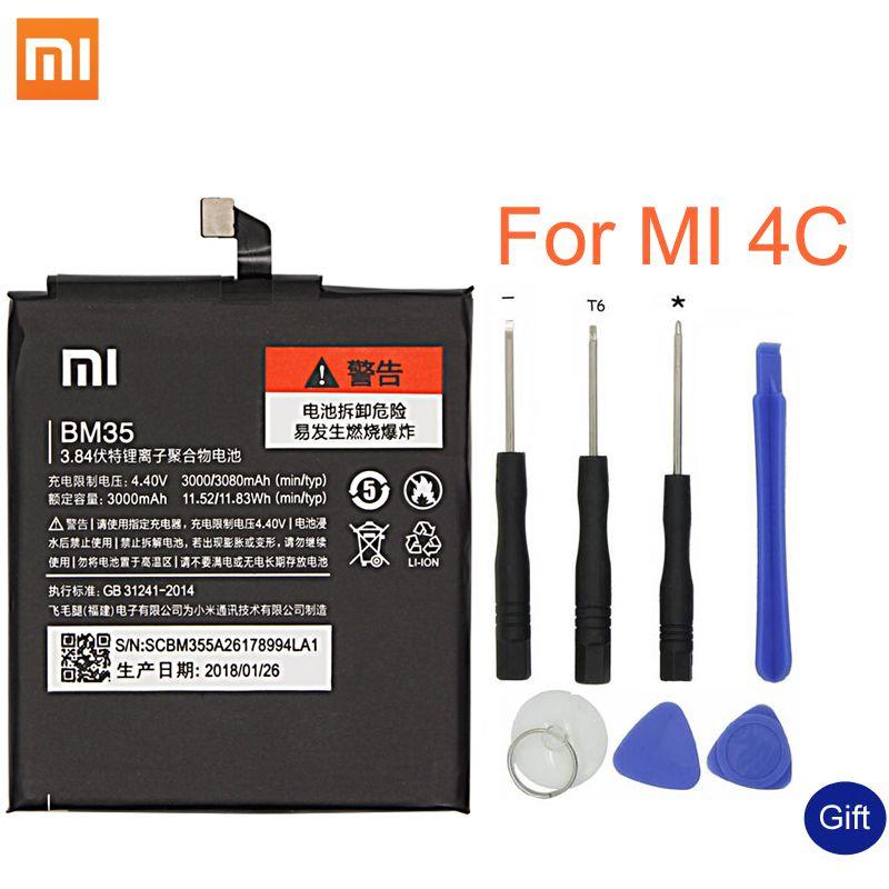 Xiao mi Batterie De Rechange D'origine BM35 Pour Xiao mi mi 4C Téléphone Portable Téléphone Batterie 3080 mAh Rechargeable batterie