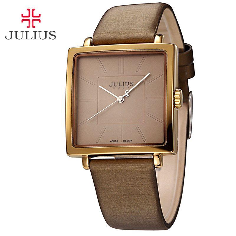 Top Julius dame montre-Bracelet pour femmes élégant Simple carré mode heures robe Bracelet en Nylon cuir fille cadeau d'anniversaire JA-354