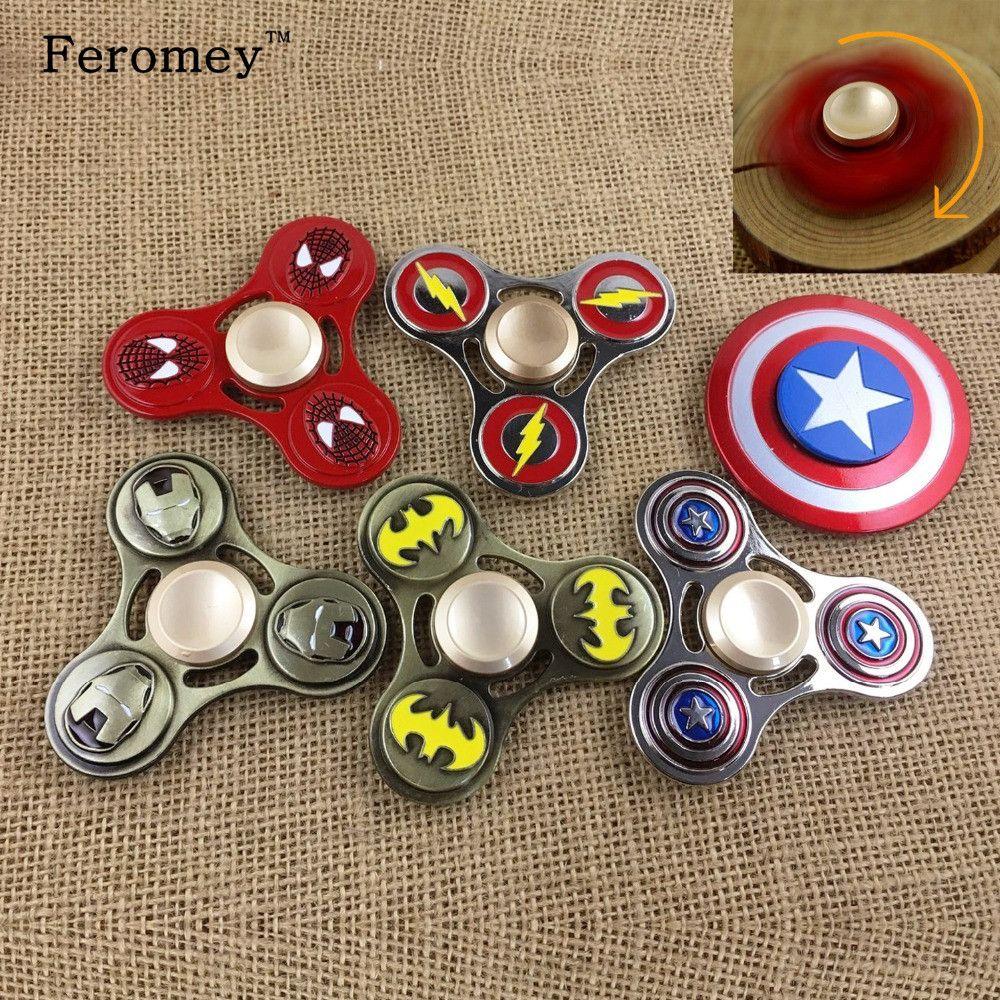 Metal Fidget Spinner Spinner Spinner Ironman Spiderman Capitán América Mano Dedo Juguete Antiestrés para ADHD Fidget Spiner Juguetes