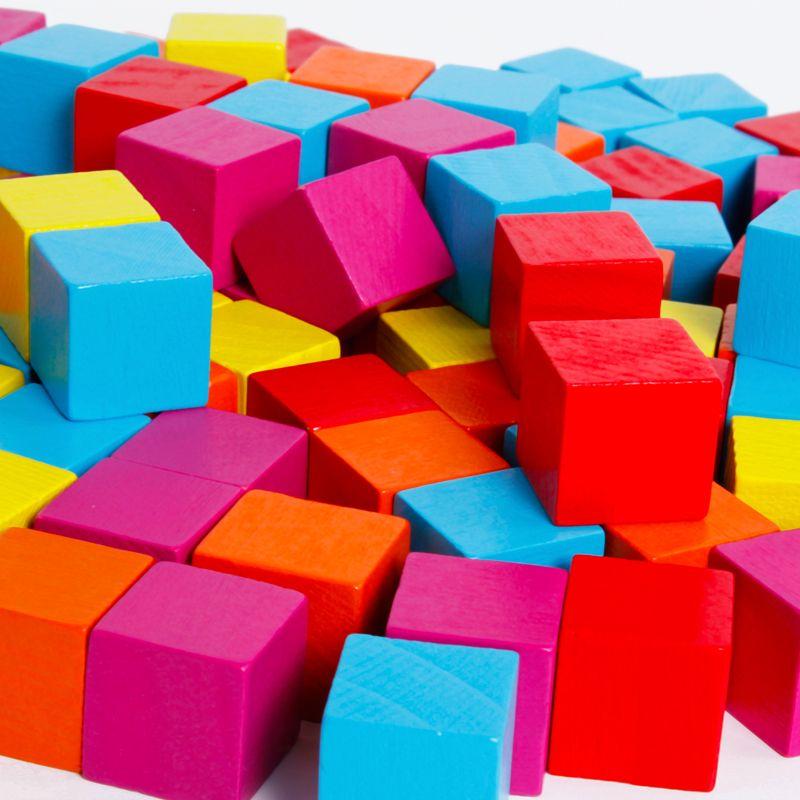 Gros bébé jouets 100 pièces carrés multicolore blocs de construction 1.9 cm Cube jouets éducatifs petite taille blocs mignon cochon poche cadeau