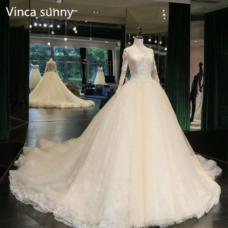 Real Photo Ball Gown Wedding Dress 2018 Bride Dresses custom size&color vestidos de noiva Long Sleeve robe de mariage