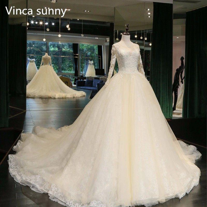 Real Photo Ball Gown Wedding Dress 2018 Bride Dresses custom size&color vestidos de noiva Long Sleeve robe de mariage