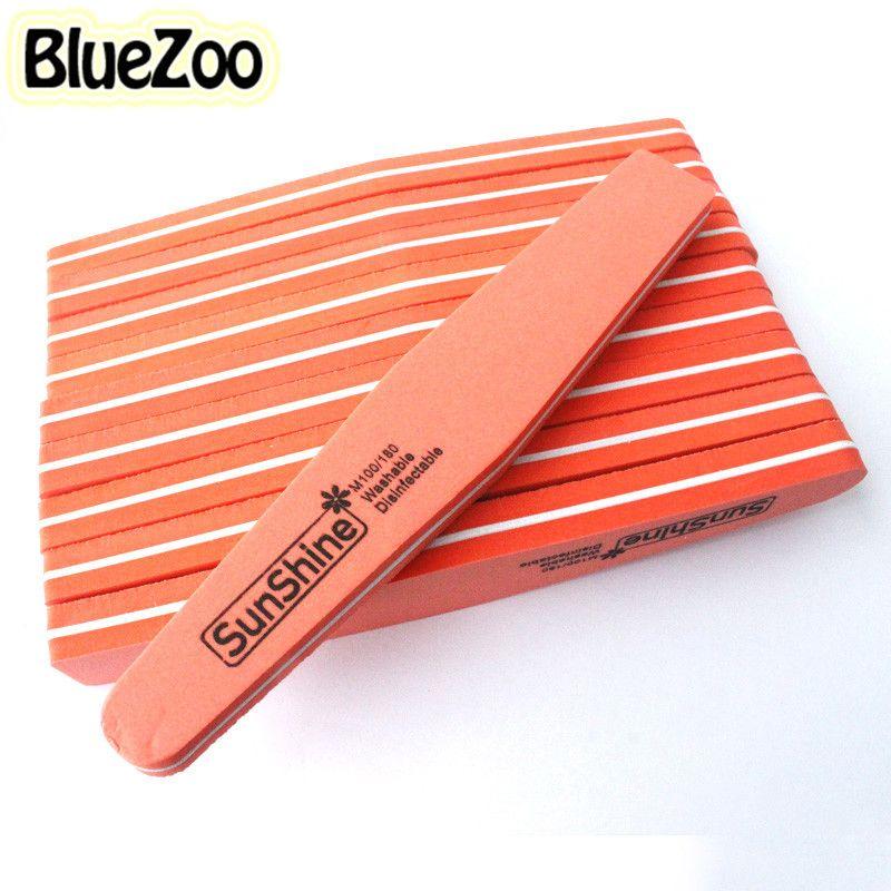 BlueZoo 10 unids/pack Limas Buffer Pulido Lateral Doble Diamante Fancy Nail File Buffer Lijado Lavable Herramienta de la Manicura de Color Naranja