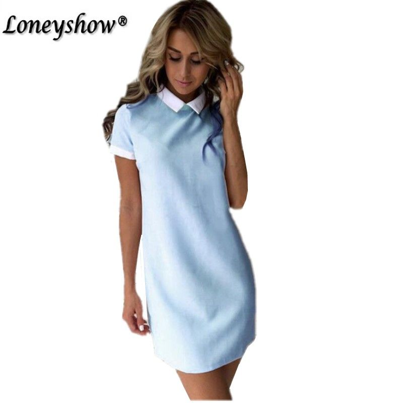 Loneyshow Women Dresses 2017 Fashion Women Turn-down Collar Casual Dress Elegant Short Sleeved Summer Mini Dress Vestido