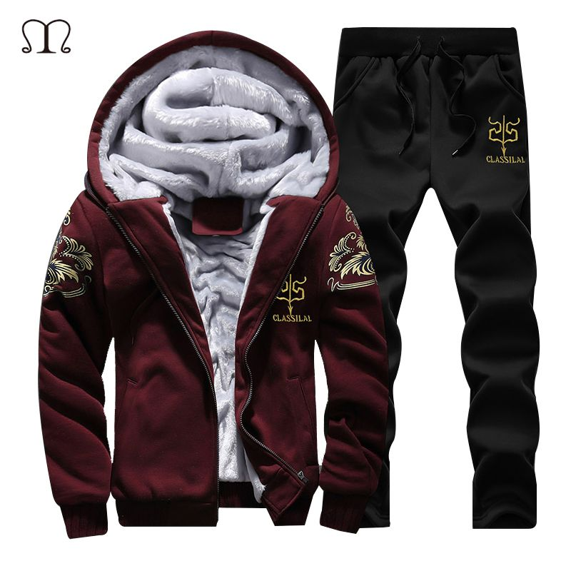 New Winter Men Set Fashion Brand Fleece Lined Thick Tracksuit + Pants Male Spring <font><b>Warm</b></font> Hooded Sporting Suit Mens Sportswear