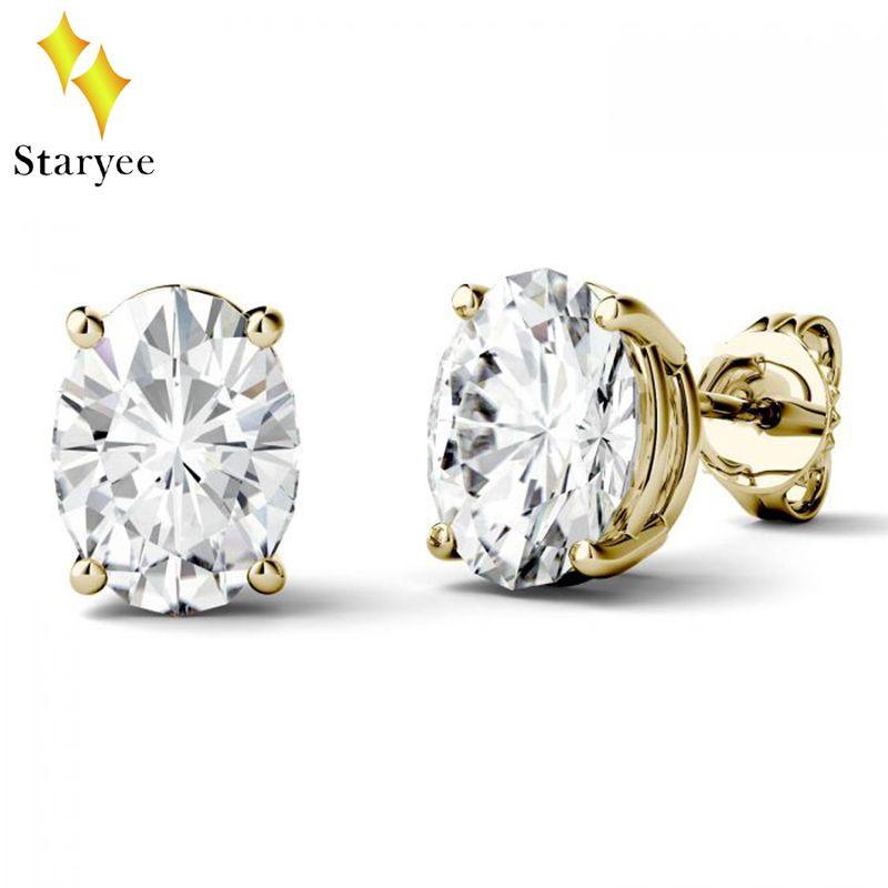 Charles Colvard Luxus Reinem 18 karat Gelbgold 1.5CT Oval Labor Diamant Moissanite Stud Ohrringe Für Frauen Geschenk Marke design
