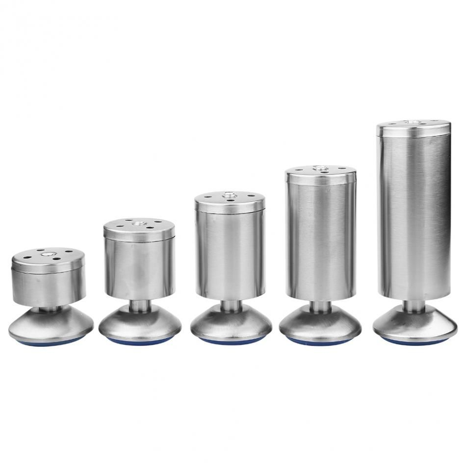 4pcs/set Height Adjustable Cabinet Legs Feet Silver Stainless Steel Table Bed Sofa Furniture Tools
