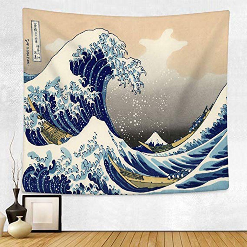 Japon Kanagawa vagues imprimé tapisserie suspendue baleine Arowana tenture murale tapisseries Boho couvre-lit Yoga tapis couverture 200*148 cm