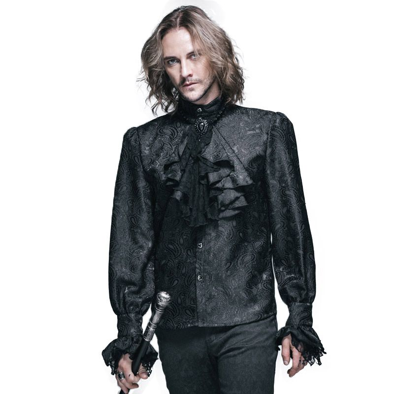 Steampunk Winter Muster Männer Langarm-shirt Damen-shirts Bluse Gothic Glänzende männer Krawatte Hemd Marke Kleidung