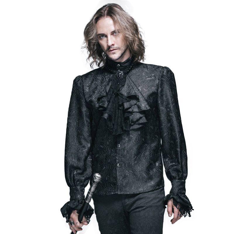 Steampunk hiver motif hommes chemise à manches longues chemises décontractées noir blanc Blouse gothique brillant hommes cravate chemise marque vêtements