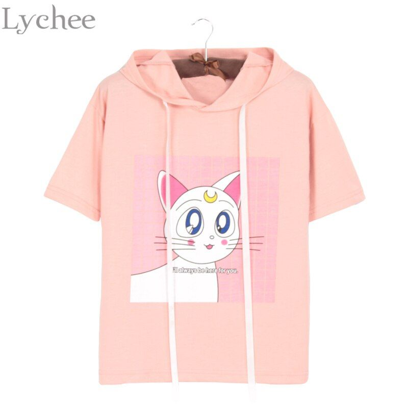 Lychee Summer Women T-shirt Luna Cat Ear Kawaii Hoodie Short Sleeve T Shirt Tee Top Sailor Moon