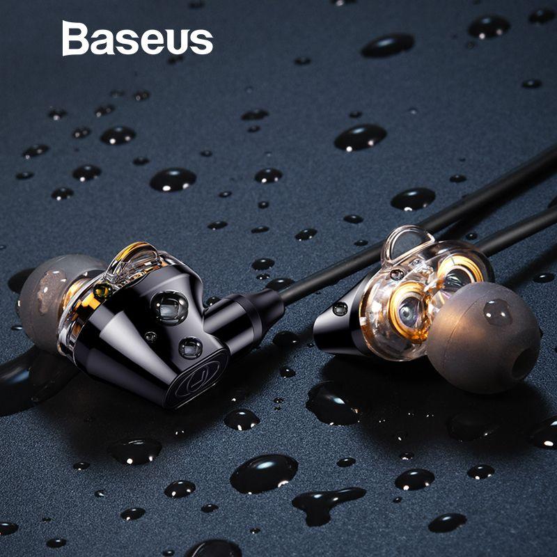 Baseus H10 Doppel dynamische 3,5mm Wired Kopfhörer stereo bass sound kopfhörer mit mic für xiaomi fone de ouvido auriculares MP3