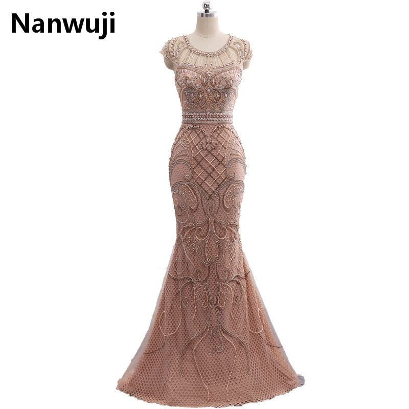 IN stock Tulle Crystal Champagne Color Party Occasion Formal Long Mermaid Evening Dress heavy Beaded Prom dress