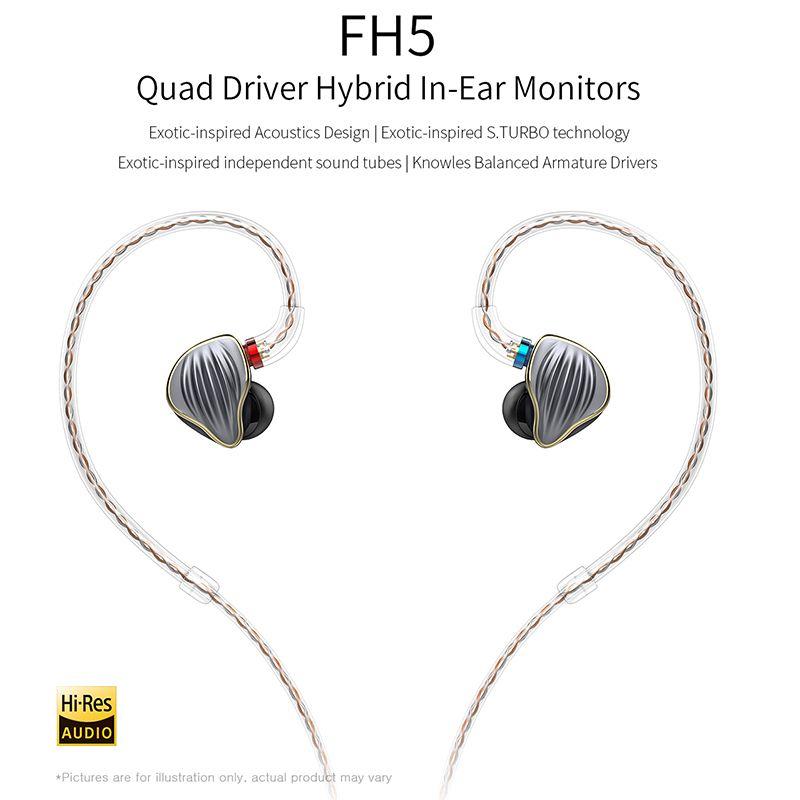 FiiO FH5 Quad Fahrer Hybrid HIFI In-ohr Monitore Kopfhörer mit Knowles Ausgewogene Anker Treiber Abnehmbare Kabel MMCX