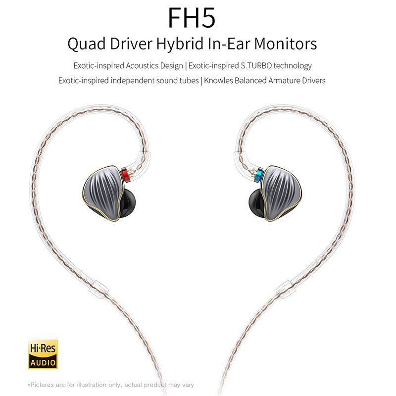 FiiO FH5 Quad Driver Hybrid HIFI IN-Ear Monitors Earphone with Knowles Balanced Armature Drivers Detachable Cable MMCX