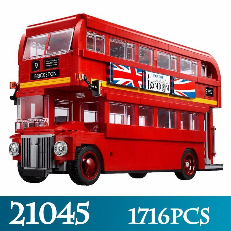 Technic Series 21045 1716pcs The London Bus Model Building Blocks Compitable 21045 LegoINGLYS Double-Decker Bus Bricks Toys Gift