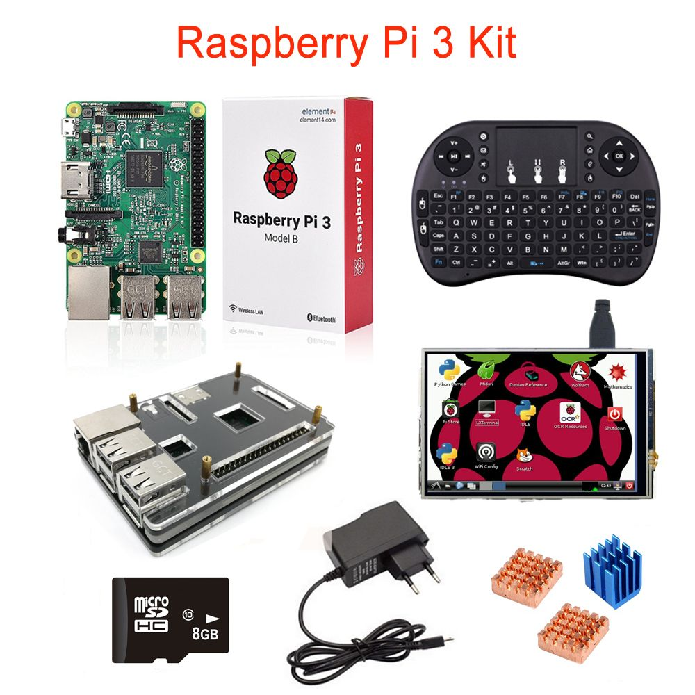 Raspberry Pi 3+3.5 inch LCD Touch Screen+8G SD Card+Wireless Remote Keyboard+5 layer Case+Heat Sink+Power Adapter
