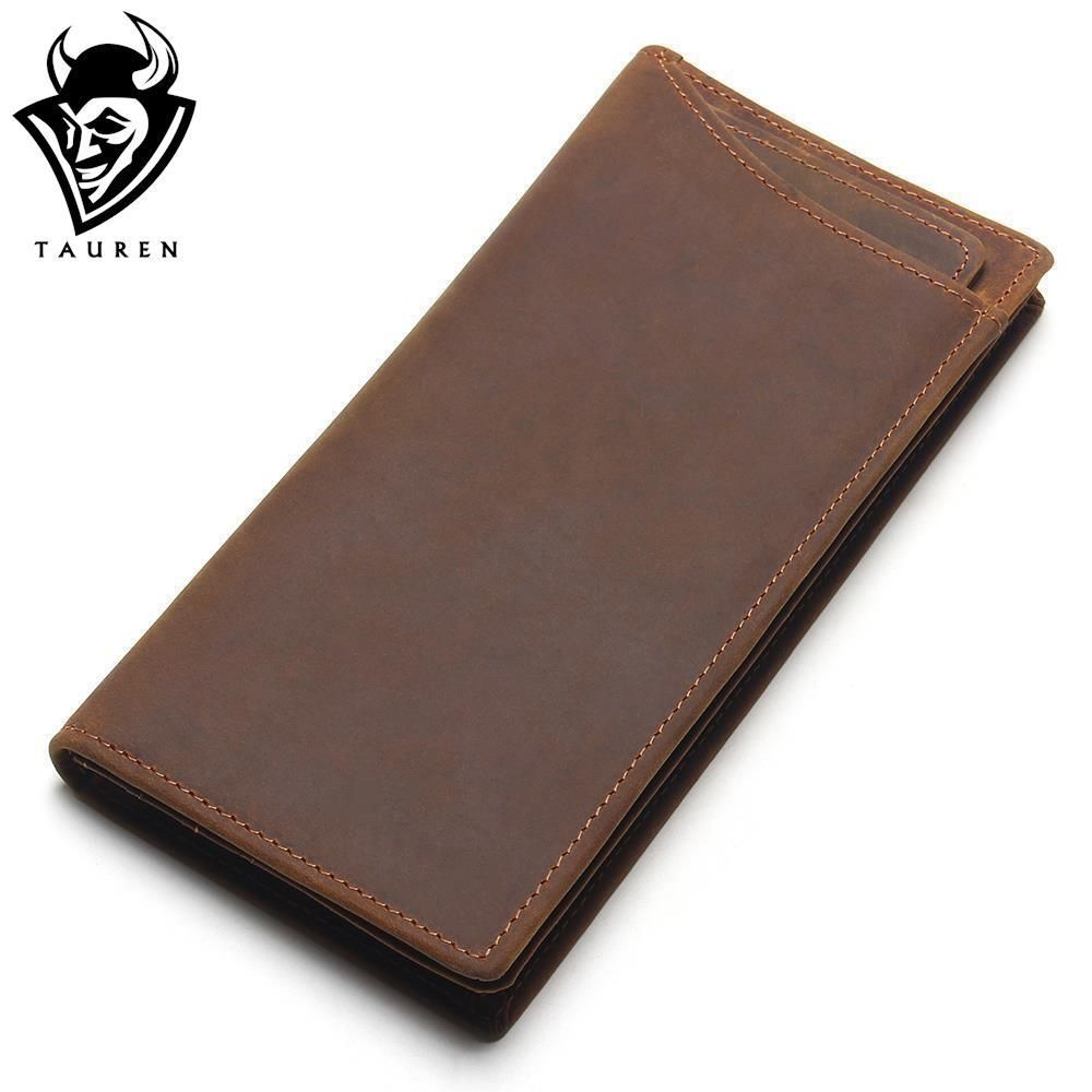 TAUREN New Arrival High Quality Cow Genuine Crazy Horse Leather Men Wallets 2018 Long Style Fashion Male Purse
