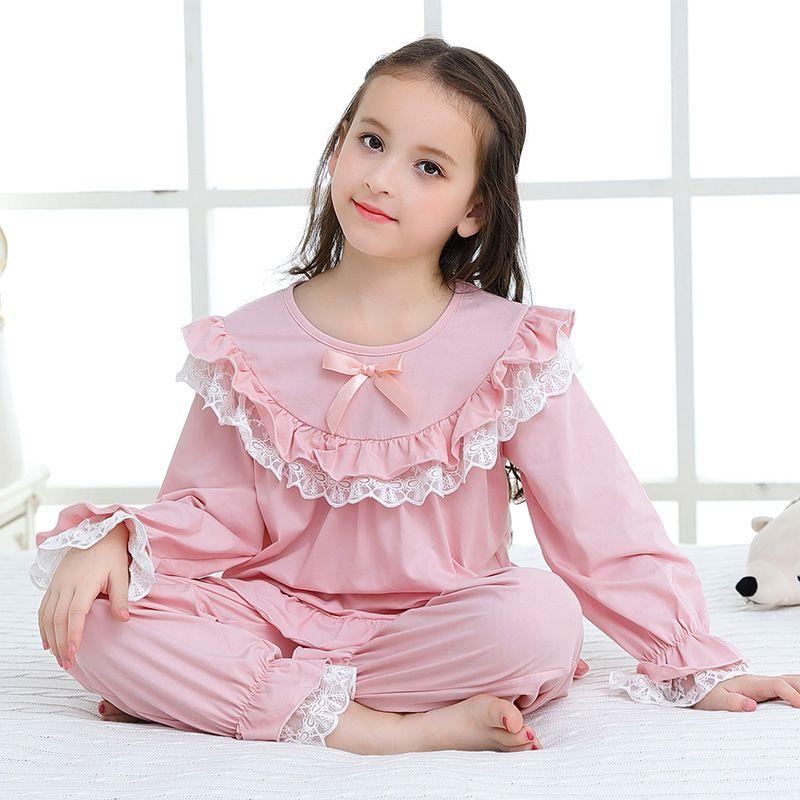 Neue Herbst Mädchen Pyjama Set Kinder Hause Tuch Mädchen Pyjama Baumwolle Langarm Spitze Niedlich für Kinder Prinzessin Retro Nachtwäsche