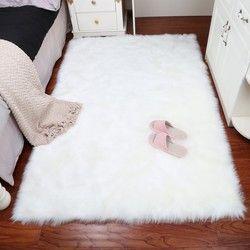 MUZZI Mewah Persegi Panjang Kulit Domba Berbulu Karpet Imitasi Tikar Kursi Pad Bulu Polos Berbulu Lembut Daerah Karpet Dekorasi Rumah