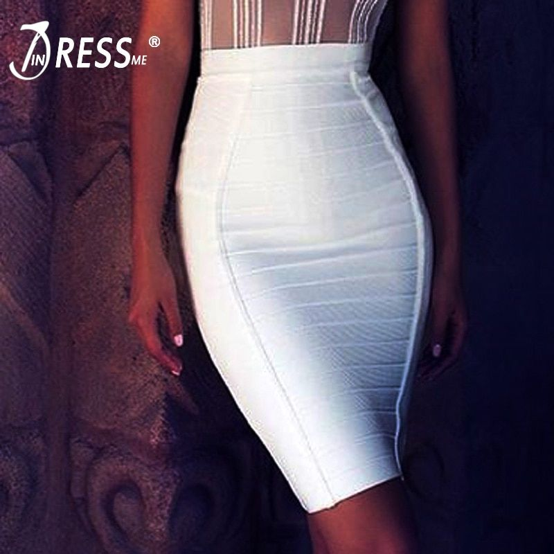 INDRESSME 2018 New Sexy Pencil Bodycon Skirt <font><b>Striped</b></font> Knee-Length Bandage Skirts Wear To Work Summer Wholesale