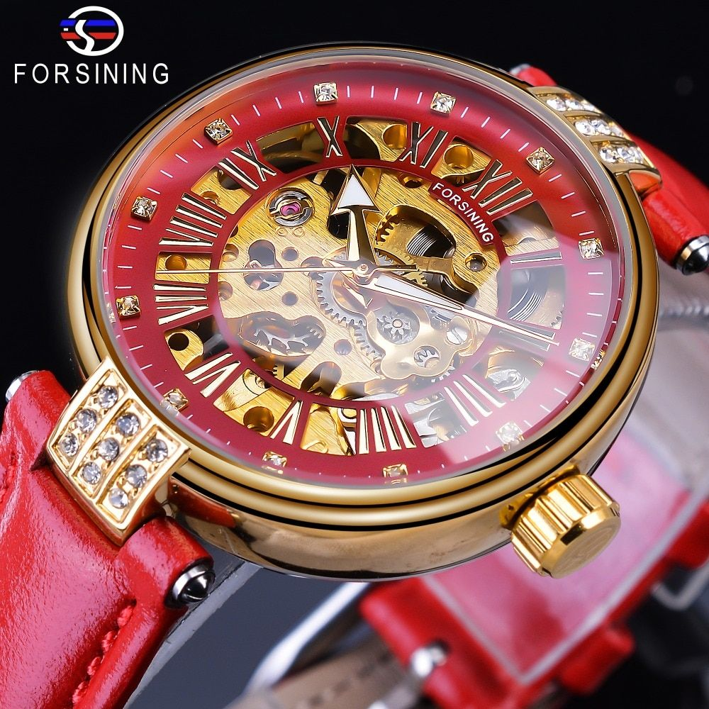 Forsining 2019 Golden Skeleton Diamond Design Red Genuine Leather Band Waterproof Lady Mechanical Watches Top Brand Luxury Clock