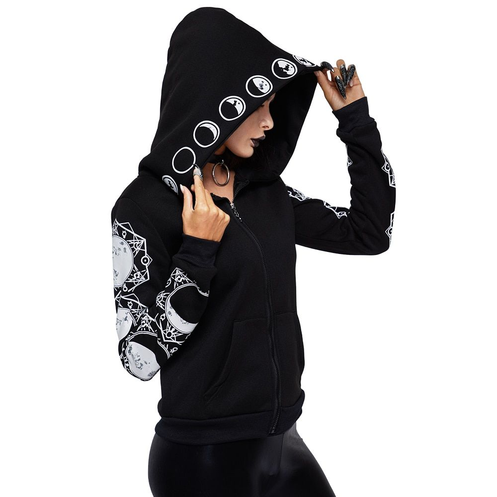 2018 Gothic Women Hoodie Casual Long Sleeve Hooded zip-up Sweatshirts Hooded Female Jumper Women Tracksuits Hoodie