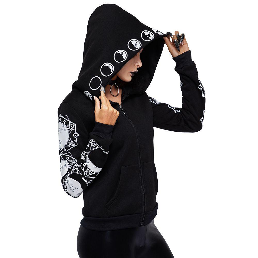 2018 Gothic Women Hoodie Casual Long Sleeve Hooded zip-up Sweatshirts Hooded Female Jumper Women Tracksuits Hoodie