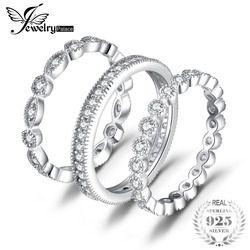 JewelryPalace Mode 2.15ct Cubique Zircone 3 Eternity Band Anneaux Pour Femmes Pur 925 En Argent Sterling Anneau De Mode Newes Bijoux