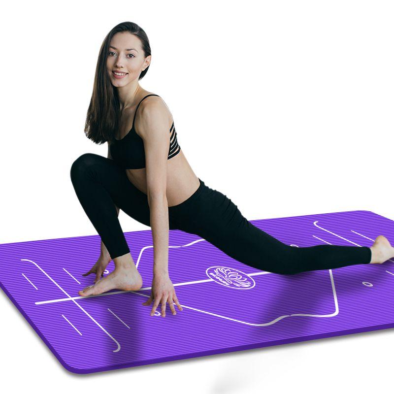 Position Line Premium Yoga Mats Tasteless Non-slip Beginners Exercise Gymnastics Mat 185 x 90cm x 10mm Mat + Bandage + Bag