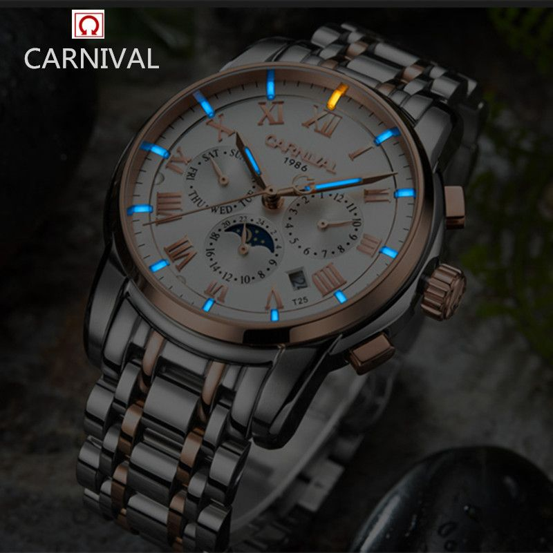 Carnival luxury brand moon phase Tritium T25 luminous military watch mechanical men watches full steel waterproof clocks relojs