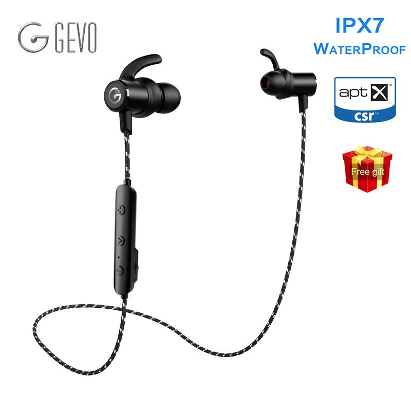 GEVO GV-18BT Wireless Headphone IPX7 Waterproof Stereo Earbuds With Mic Handsfree Neckband Bluetooth Earphone For Phone Sport