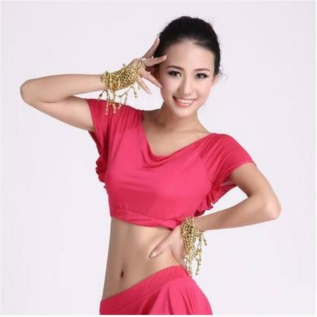 Nueva seda de la leche de momen superior de danza del vientre danza del vientre de manga corta tops 9 colores tapas atractivas