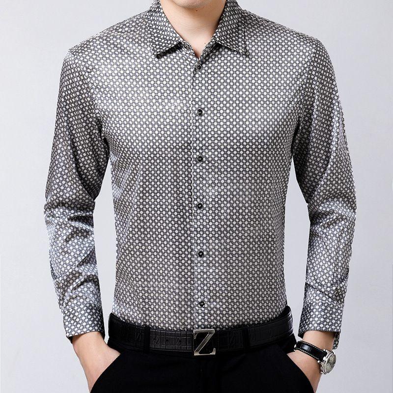 Neue Männer der natürliche Seide Hemd Business Kleine Plaid Silk Satin Jacquard Falten Frei
