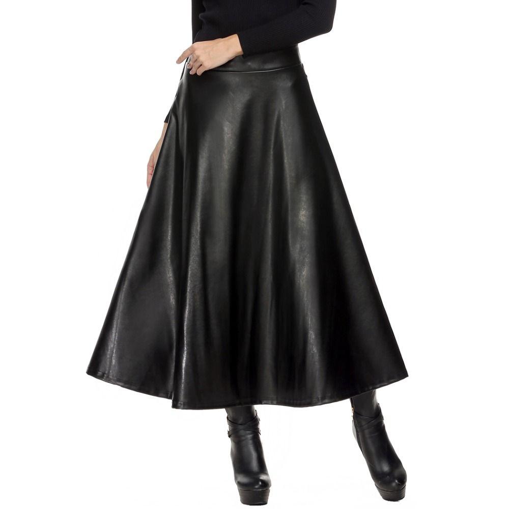 <font><b>Women</b></font> Skirt Folds PU Leather Skirt England Style Vintage Pleated Skirt Long Casual Winter Plus Size XXL deri etek saias longa