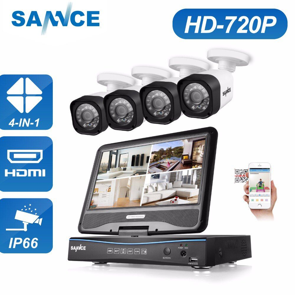 SANNCE 4CH 720P CCTV System 1080N DVR built-in 10.1