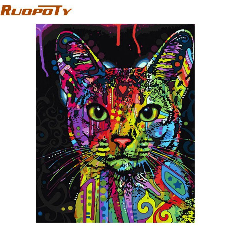 RUOPOTY coloré chat peinture à la main par numéros abstrait moderne mur Art image Kits coloriage peinture par numéros pour la décoration intérieure