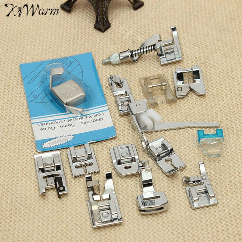 Kiwarm 14 Pcs Multifunction Sewing Machine Presser Foot Feet Kit Set For Brother Feiyue Janome Household Sewing Tools Accessory