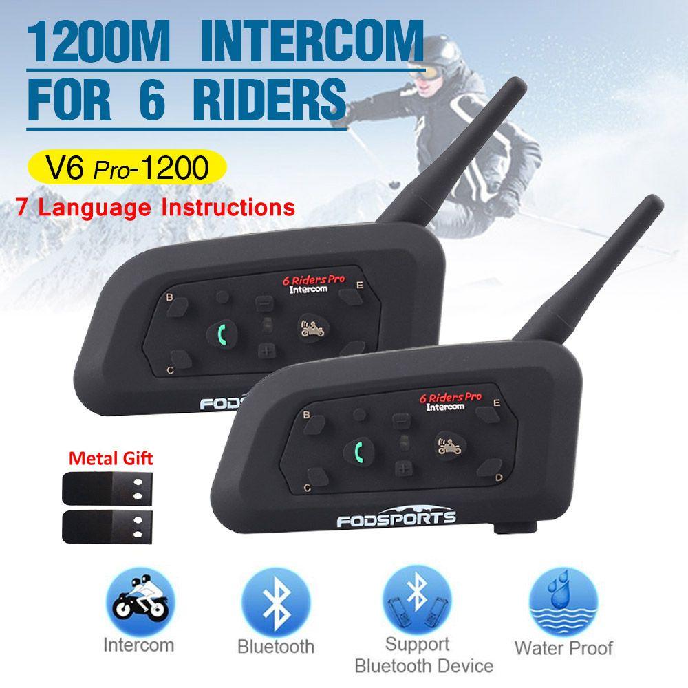 2 pièces V6 Pro Multi BT Interphone 1200M moto cycle Bluetooth casque Interphone intercomunicador moto casque pour 6 Ride IPX5 MP3 GPS