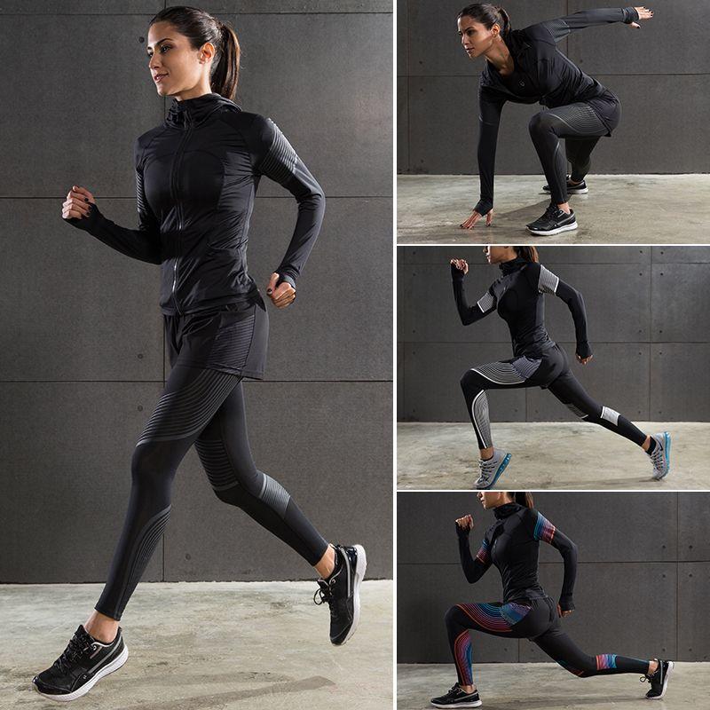 Для женщин спортивной подготовки Колготки спортивный костюм Для женщин Йога одежда Место тренажерный зал влагу сжатия комплект для бега Ко...