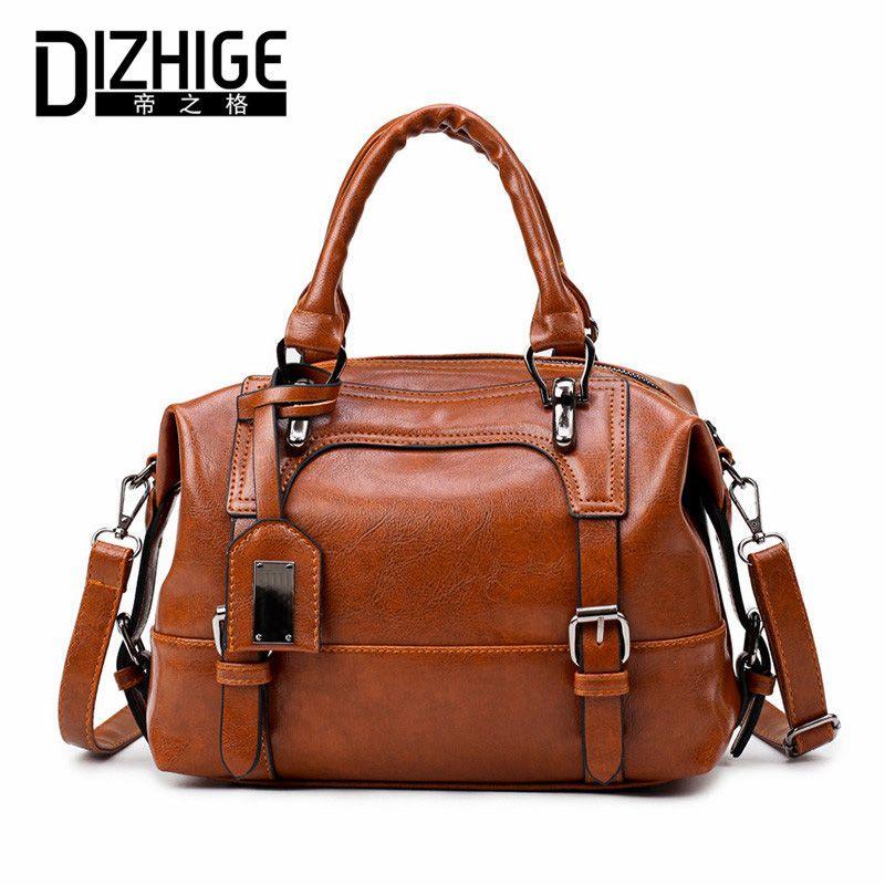 DIZHIGE Brand Boston Women Bag Vintage Four Belts Shoulder Bags Sequined Women Handbags Designer PU Leather Bags Ladies 2017 New