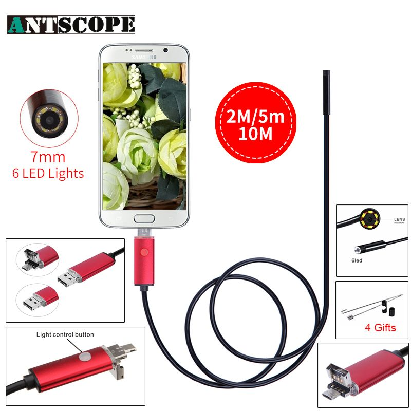 Endoscope 7 MM 2 M 5 M 10 M Endoscope HD USB Android Endoscopio Caméra IP67 2IN1 Android Endoscope USB Endoskop Caméra D'inspection