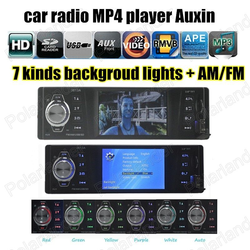 Car Auto Audio remote control Radio Stereo FM MP4 Player Auxin with USB Port and SD Card Slot AM FM