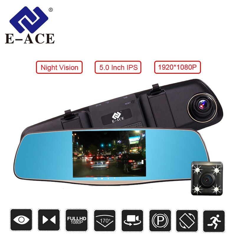 E-ACE 5.0 Inch Car DVR Mirror Full hd 1080P Rearview Mirror Camera With Dual Len Car Video <font><b>Registrator</b></font> Dash Camera Auto Dash Cam