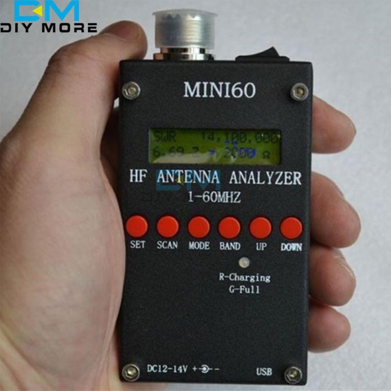For Ham Radio Mini60 SARK100 HF ANT SWR Antenna Analyzer Meter 1-60Mhz