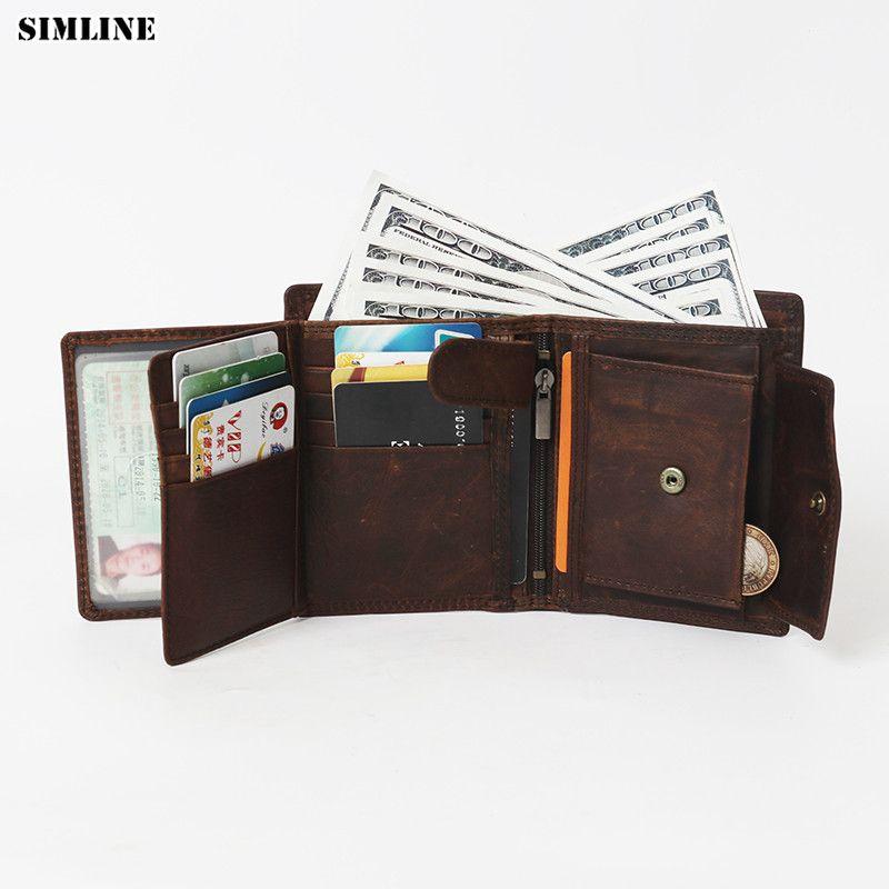 Portefeuille en cuir véritable pour hommes SIMLINE Rfid bloquant les portefeuilles courts Vintage pour hommes sac à main porte-carte avec poche à glissière