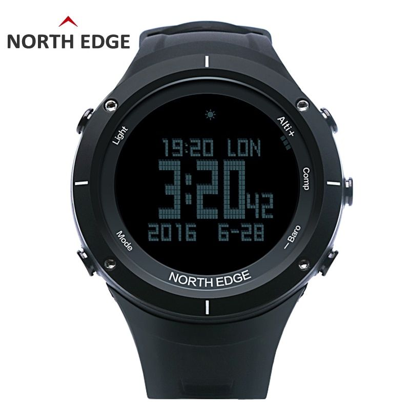 NORTH EDGE Men's sport Digital watch Hours Heart rate Running Swimming watches Altimeter Barometer Compass Thermometer Pedometer