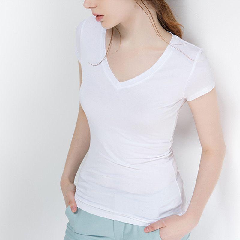 S-5XL Nouveau T-shirt femme En Coton D'été 2019 décontracté Élasticité manches Courtes Col En V Mince Fond T-shirt fille hauts T-shirts Femme