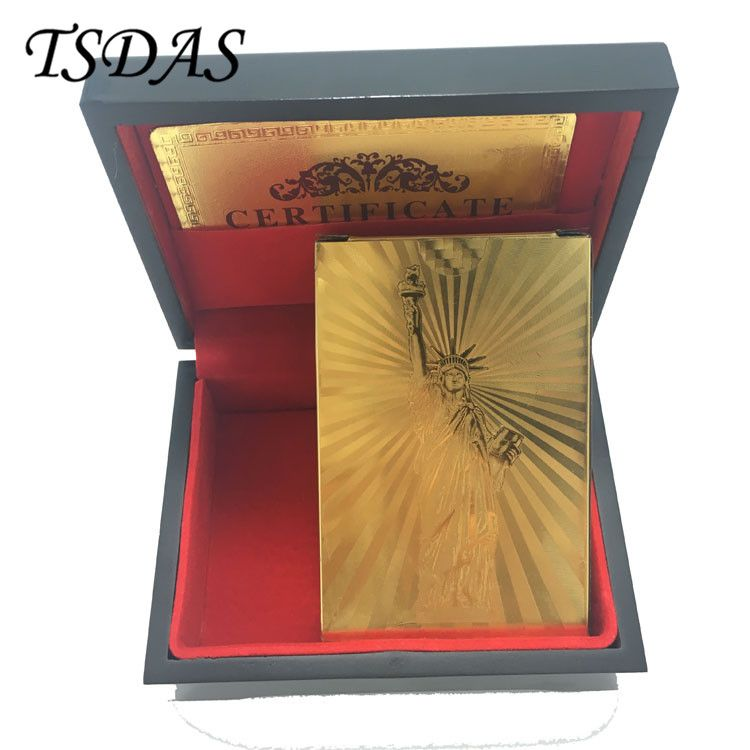 24K Gold Plated Playing Cards The Statue of Liberty Style With Wooden Box & Certificate Authenticity