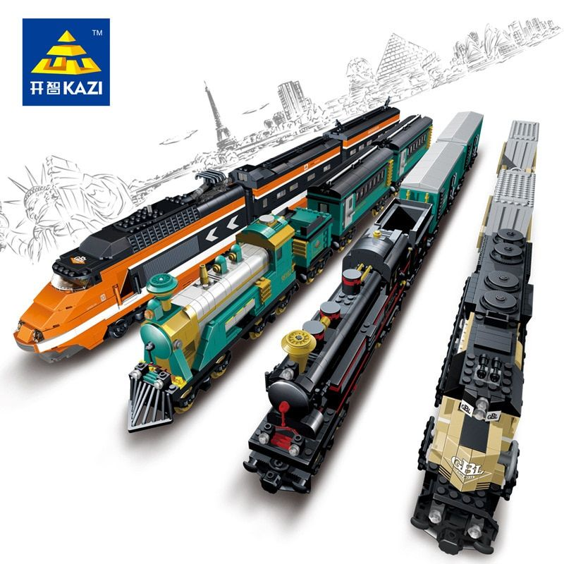 KAZI 2017 New GBL Battery Powered Electric Steam Container Train Building Block Toy Kids Bricks Toys for children brinquedos